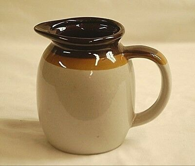 Old Vintage Ceramic Pitcher Speckled Cream w Two Tone Brown Trim Unknown Maker