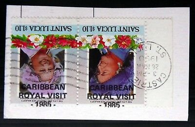 St LUCIA Royal Visit 1985 Inverted/OPT VARIETY Se-tenant Pair Used NC451
