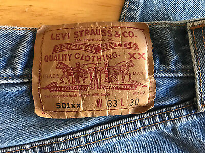 Vintage Classic Shrink to Fit LEVIS 501xx Button Fly Jeans USA 33/30