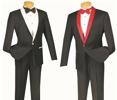 Men's Slim Fit Formal Suit Single Breasted 1 Button Black/White Black/Red S1SH-2