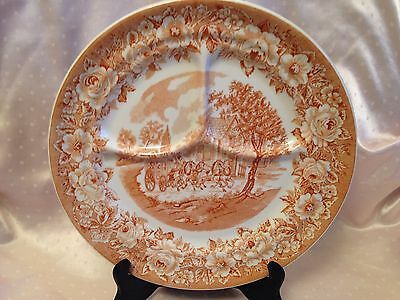 Shenango China Red Pink Willow ROSELYN CASTLE Grill Plate