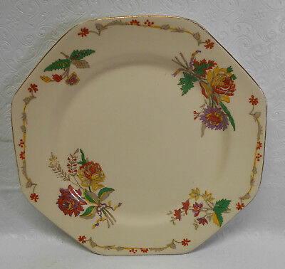 Vintage John Maddock & Sons Royal Ivory Plate - 8 Sided - Floral Pattern - Milan