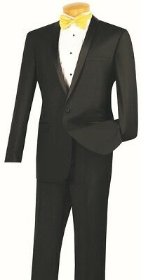 Men's Slim Fit Formal Tuxedo Single Breasted 1 Button Black Prom Wedding T-SS