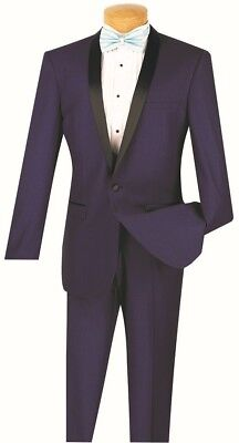 Men's Slim Fit Formal Tuxedo Single Breasted 1 Button Blue Prom Wedding T-SS