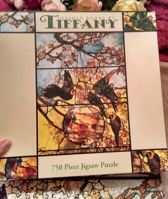 Stained Glass by Tiffany 750 Piece Puzzle made by Ceaco, 1999 Birds