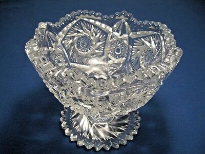 Vintage Clear Cut Crystal Heavy Stemmed Compote - Sawtooth Edge