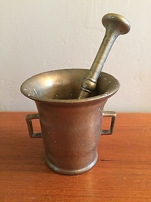 ANTIQUE Vintage Brass Mortar and Pestle DANISH COLLECTIBLE Early 1900s DENMARK