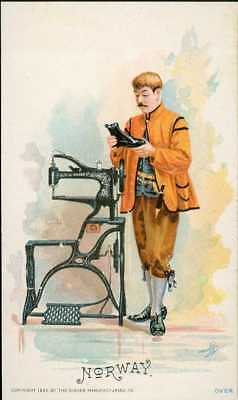1892 Singer Sewing Machine Chromolitho Trade Card 91 Costume Of NORWAY