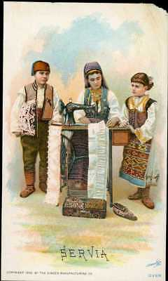 1892 Singer Sewing Machine Chromolitho Trade Card 78 Costume Of SERBIA