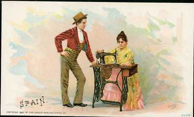 1892 Singer Sewing Machine Chromolitho Trade Card 75 Costume Of SPAIN