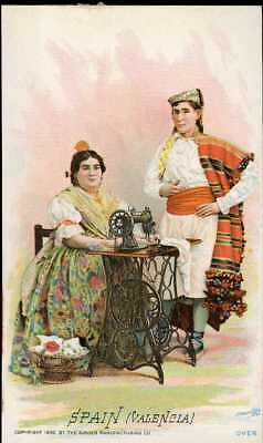 1892 Singer Sewing Machine Chromolitho Trade Card 74 Costume Of SPAIN VALENCIA