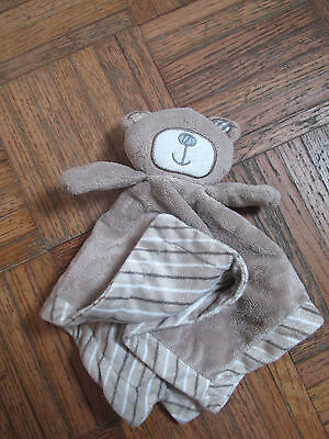 Koala Baby Brown Tan Teddy Bear Plush Striped Security Blanket Lovie Velour