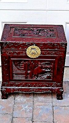 EARLY 20c CHINESE CAMPHOR WOOD CARVED LACQUERED CHEST,TRUNK W/BRASS DECORATION