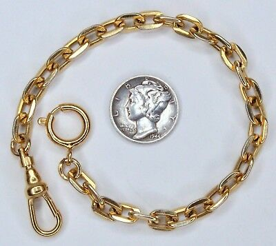 Simple Art Deco Style Pocket Watch Chain Brass Flat Links 14k Gold Plated Ends