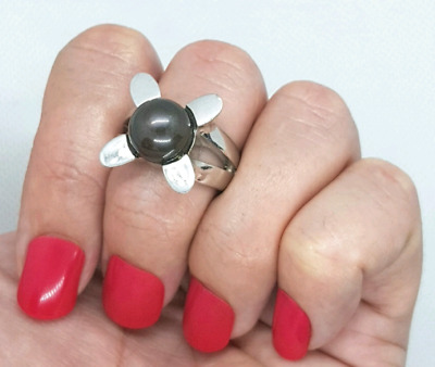 Natural black pearl ring, Sterling Silver, size 8 1/4 US, modern, Item #0094