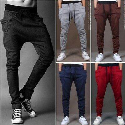 Mens Slim Fit Casual Sweat Pants Solid Plain Skinny Fitted Gym Jogger Activewear