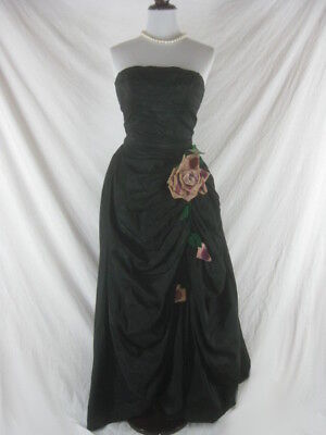 Vtg 40s 50s Danahy Black Womens Vintage Full Skirt Evening Gown Party Dress W 24