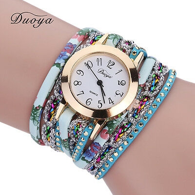 Women Watch Bracelet Crystal Leather Dress Party Analog Quartz Wrist Watches NEW