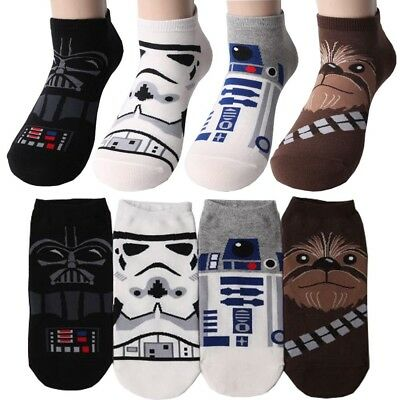 Pack of 4 pairs MEN's Star Wars Low Cut Socks Darth Vader Stormtrooper, R2-D2..