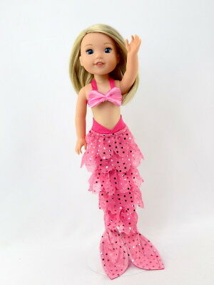 "Hot Pink Mermaid Costume Outfit Fits Wellie Wishers 14.5"" American Girl Clothes"