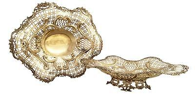 """SUPERB PAIR of ANTIQUE VICTORIAN STERLING SILVER GILT 14"""" DISHES - 1897"""