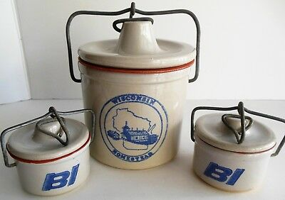 Vintage Cheese Crock Lot of 3 Braniff Airlines BI Kaukauna Klub Wisconsin Crock