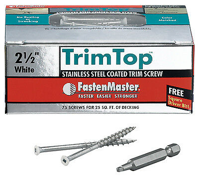 "Trim Top Deck Screws, White Head, SS, 2.5"", 75 Ct., OMG, FMTT212-75WH"