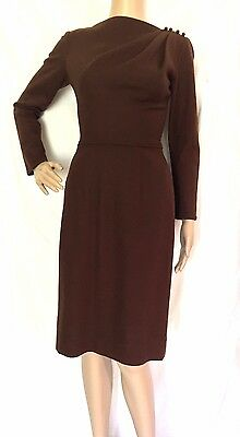 Lilli Diamond 1950's Rare Brown Wool Dress - VTG - Size 6 - Excellent Condition
