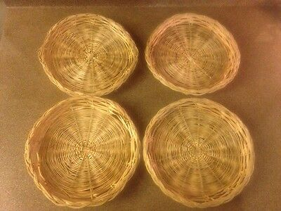 Lot 4 Vintage Wicker Rattan Bamboo Paper Plate Holders Barbeque Cookout Holiday & LOT 4 VINTAGE Wicker Rattan Bamboo Paper Plate Holders Barbeque ...