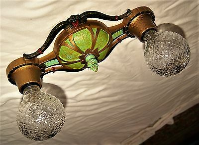 Vtg Deco Era Victorian Cast Iron Flush Mount Lincoln Chandelier Ceiling Fixture