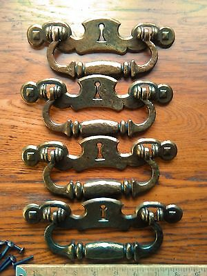 6 Vintage Large Brass Color Drawer Pulls Escutcheon Style with Screws Keyhole