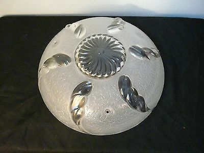 Vintage Art Deco Clear & Frosted Pressed Glass Ceiling 3 Hole Light Cover Shade