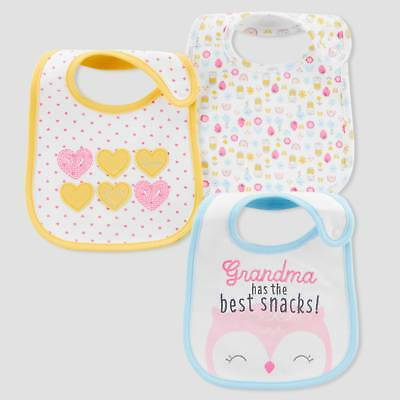 Baby Girls' 3pk Owl Hearts Bibs - Just One You® made by carter's Yellow/...