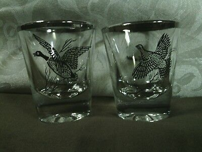 (2) Beautiful Vtg. Richard Bishop Game BIrds Shot Glasses Set w/Platinum Trim