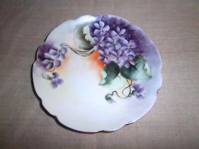 Vintage Bavaria Germany Hand Painted With Purple Flowers Collector's Plate