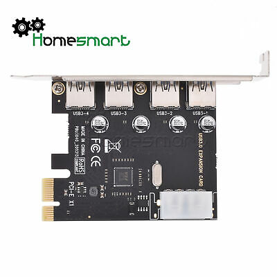 4 Port 5 Gbps Speed PCI-E to USB 3.0 HUB PCI Express Expansion Card Adapter new