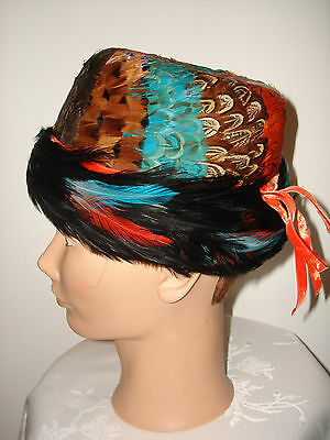 Vtg Beautiful Collectible Marshall Field Company Pheasant Feather Derby Hat Box