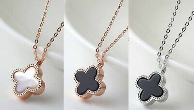 ca8230a8c239b DOUBLE-SIDED *4-LEAF LUCKY Clover* Rose Gold Black/White Pearl ...
