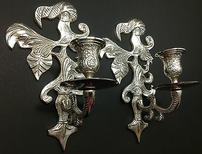 Vintage Pair Silver Tone Ornate Leaf Scroll Design Candle Wall Sconces