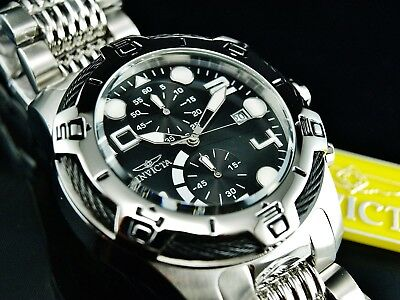 Invicta Men's 50mm Bolt Chronograph Black Dial Silver Tone Stainless Steel Watch