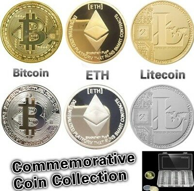 Bitcoin! Litecoin! Ethereum Coin! Gold Silver Plated Collectible Miner Art Neu