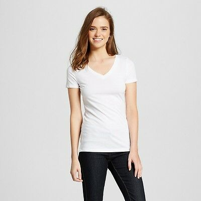 Mossimo Womens Basic Tee Shirt White V Neck Solid Short Sleeve Small XXL