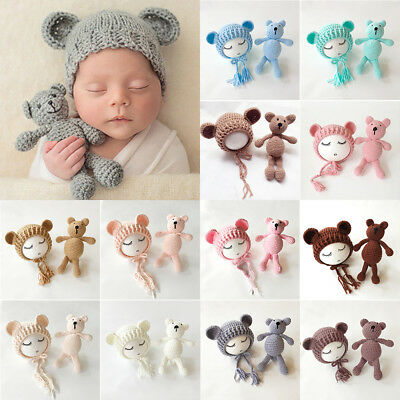AU Stock Newborn Baby Bear Hat Set Girls Boys Photography Crochet Knit Costume