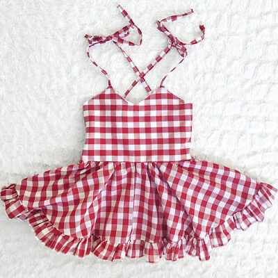 USA Baby Girls Kids Checked Backless Casual Dress Princess Dress Clothes 0-24M