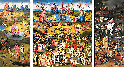"Hieronymus Bosch ""Garden of Earthly Delights"" on Canvas Giclee 79x43 SUPERB!!!"