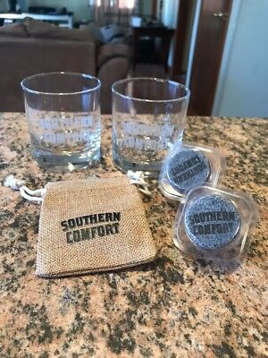 """2 Southern Comfort 4"""" Glasses W/ 2 Freeze Stones & Pouch"""