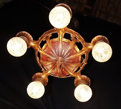 VTG DECO POLICHROME CAST METAL HANGING LINCOLN CO CHANDELIER CEILING FIXTURE 20s