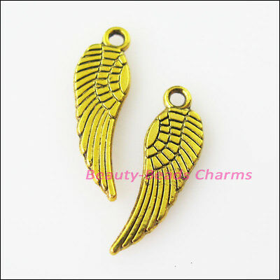 20Pcs Antiqued Gold Tone Tiny Wings Charms Pendants 5x17mm