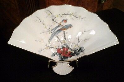 Vintage Japanese Fine China By Jay ~ Asian Japan Oriental Fan Plate Dish Lovely!