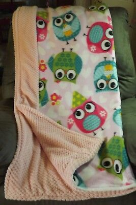 Handmade Pink Minky Dot Blankets / Fleece Owls On White Background